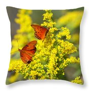 Gulf Fritilaries On Golden Rod Throw Pillow
