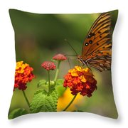 Gulf Fritillary Butterfly On Colorful Lantana  Throw Pillow
