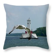 Gull And Lighthouse Throw Pillow