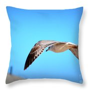 Gull On The Wing Throw Pillow