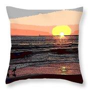 Gulls Enjoying Beach At Sunset Throw Pillow