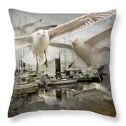 Gulls In The Harbor Throw Pillow
