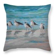 Gulls On Beach Throw Pillow