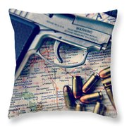 Gun And Bullets On Map Throw Pillow