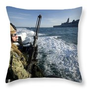 Gunner Mans A .50-caliber Machine Gun Throw Pillow