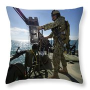Gunner Mans A M240 Machine Gun Throw Pillow