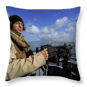 Gunners Mate Mans An M2 Hb .50-caliber Throw Pillow