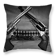 Guns In Black And White Throw Pillow
