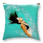 Hair Fling Throw Pillow
