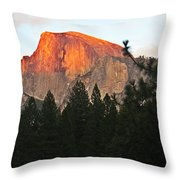 Half Dome Alpenglow Throw Pillow