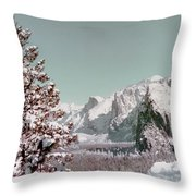 Half Dome In The Snow Throw Pillow