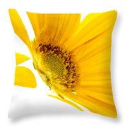 Half Yellow Gerbera Throw Pillow