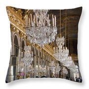 Hall Of Mirrors At Palace Of Versailles France Throw Pillow