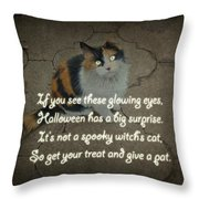 Halloween Calico Cat And Poem Greeting Card Throw Pillow