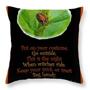 Halloween Card - Spider And Poem Throw Pillow