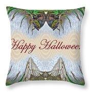 Halloween Fantasmagorical Cicada Card Throw Pillow