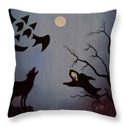 Halloween Night Party Original Painting Placemat Doormat Throw Pillow
