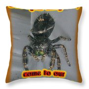 Halloween Party Invitation - Salticid Jumping Spider Throw Pillow