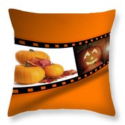 Halloween Pumpkin Film Strip Throw Pillow by Amanda Elwell
