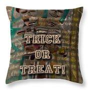 Halloween Trick Or Treat Skeleton Greeting Card Throw Pillow
