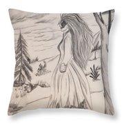 Halloween Witch Walk Throw Pillow