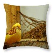 Halloween Yellow Bird Throw Pillow