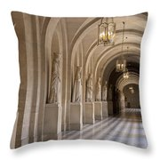 Hallway In Palace Of Versaille Throw Pillow