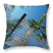 Hammock And Palm Tree, Great Barrier Throw Pillow