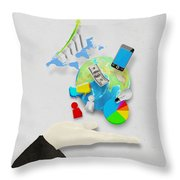 Hand And Globe On Hand Made Paper  Throw Pillow