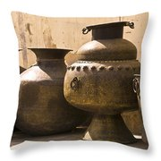 Hand Crafted Jugs, Jaipur, India Throw Pillow