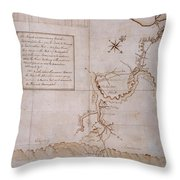 Hand Drawn Map By G. Washington Throw Pillow