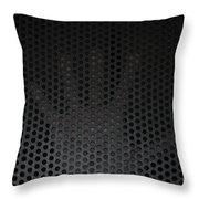 Hand On Metal Grating Throw Pillow