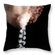 Hand Rolling Dice Throw Pillow