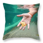 Hand Takes A Leaf Throw Pillow