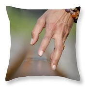 Hand Touching A Railroad Track Throw Pillow