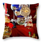 Handcrafted Mouth Blown Christmas Glass Balls Throw Pillow