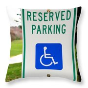 Handicapped Parking Sign Throw Pillow by Photo Researchers