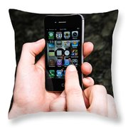 Hands Holding An Iphone Throw Pillow