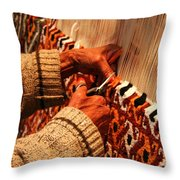 Hands Of The Carpet Weaver Throw Pillow