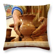 Hands Of The Potter Throw Pillow
