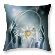Hands With Atom In Capsule Throw Pillow
