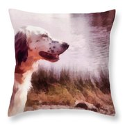 Handsome Hunter. English Setter Throw Pillow