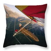 Hang Gliding With Wing-mounted Camera Throw Pillow