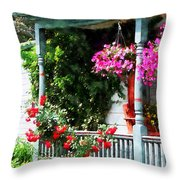 Hanging Baskets And Climbing Roses Throw Pillow