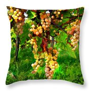 Hanging Grapes On The Vine Throw Pillow by Elaine Plesser