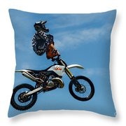 Hanging On Motorcycle Tricks  Throw Pillow