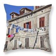 Hanging Out To Dry In Rovinj Throw Pillow