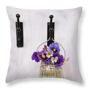 Hanging Pansies Throw Pillow