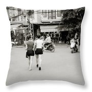 Hanoi Girls Throw Pillow