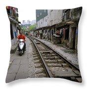 Hanoi Train Tracks Throw Pillow